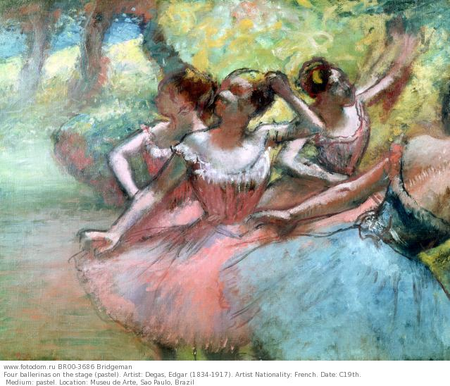 Four ballerinas on the stage (pastel). Artist: Degas, Edgar (1834-1917). Artist Nationality: French. Date: C19th. Medium: pastel. Location: Museu de Arte, Sao Paulo, Brazil