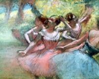 Four ballerinas on the stage (pastel). Artist: Deg