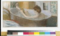Woman in her Bath, Sponging her Leg, c.1883 (paste