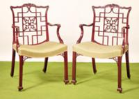 Chippendale mahogany dining chairs in the Chinese