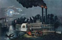 'Wooding up' on the Mississippi (litho). Artist: C