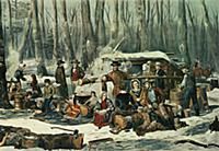 American Forest Scene - Maple Sugaring, 1856 (lith
