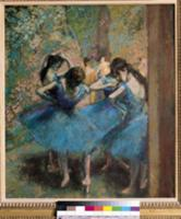 Dancers in blue, 1890 (oil on canvas). Artist: Deg