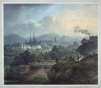 View of Shrewsbury across the Severn (w/c). Artist