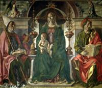 The Virgin and Saints, 1474 (oil). Artist: Cossa,