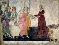 Venus and the Graces offering gifts to a young gir