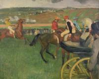 The Race Course - Amateur Jockeys near a Carriage,
