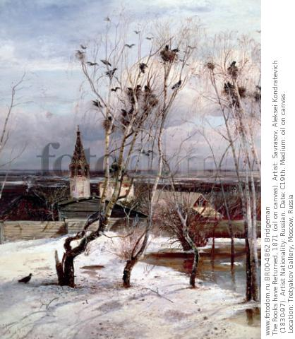 The Rooks have Returned, 1871 (oil on canvas). Artist: Savrasov, Aleksei Kondratevich (1830-97). Artist Nationality: Russian. Date: C19th. Medium: oil on canvas. Location: Tretyakov Gallery, Moscow, Russia