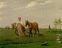 Ploughing in Spring, 1820s (oil on canvas). Artist