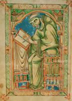 Ms R 17 I f.283v Monk Eadwine at work on the manus