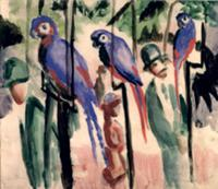 Blue Parrots (w/c on paper). Artist: Macke, August