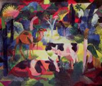 Landscape with Cows and a Camel (oil on canvas). A