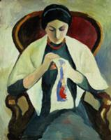 Woman Sewing. Artist: Macke, August (1887-1914). A
