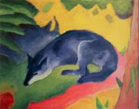 Blue Fox, 1911 (oil on canvas). Artist: Marc, Fran