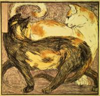 Two Cats (sketch). Artist: Marc, Franz (1880-1916)
