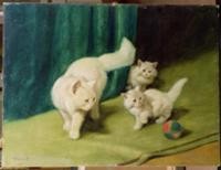 White Persian Cat with Two Kittens. Artist: Heyer,
