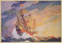 Columbus Crossing the Atlantic, 1927 (print). Arti