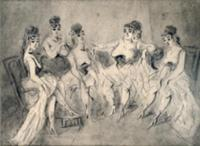 Girls in a Bordello (pen and ink). Artist: Guys, C