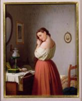 Young Woman Plaiting her Hair. Artist: Bremen, Mey