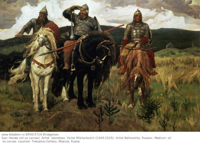 Epic Heroes (oil on canvas). Artist: Vasnetsov, Victor Mikhailovich (1848-1926). Artist Nationality: Russian. Medium: oil on canvas. Location: Tretyakov Gallery, Moscow, Russia