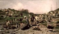 Repairing the Railway, 1874 (oil on canvas). Artis