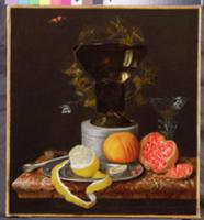 A Still Life with a Glass and Fruit on a Ledge. Ar