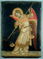 An Angel Weighing a Soul, c.1348-55 (tempera on pa