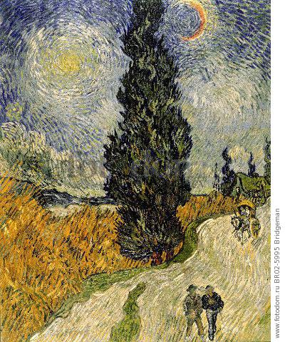 Road with Cypresses, 1890 (oil on canvas) , artist: Gogh, Vincent van (1853-90)