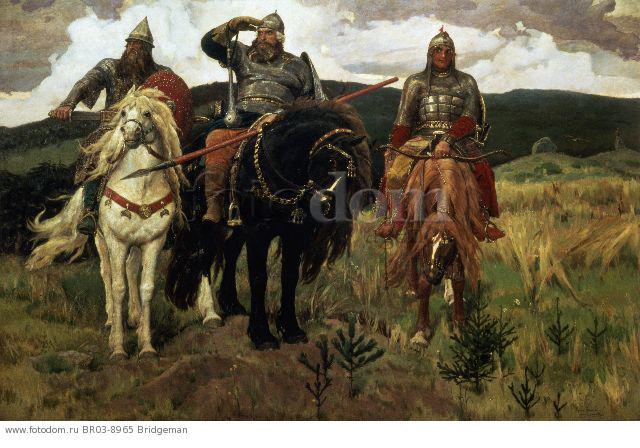 Warrior Knights, 1881-98 (oil on canvas) , artist: Vasnetsov, Victor Mikhailovich (1848-1926)
