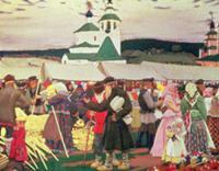The Fair, 1906 (oil on canvas) , artist: Kustodiev