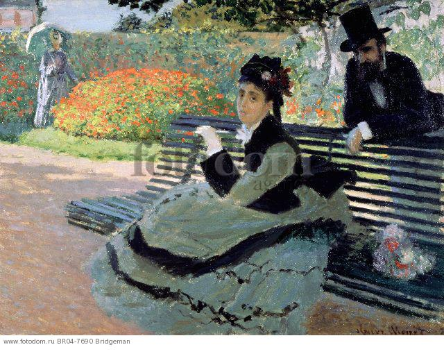 Madame Monet on a Garden Bench , artist: Monet, Claude (1840-1926)