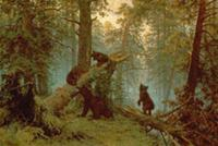 Morning in a Pine Forest, 1889 (oil on canvas) , a