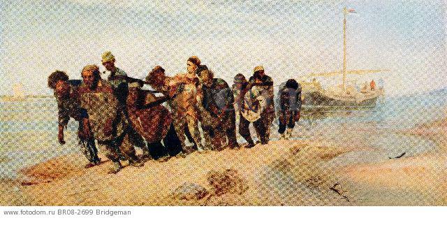 Convicts pulling a boat along the Volga River, Russia, 1873 (colour litho) , artist: Repin, Ilya Efimovich (1844-1930)