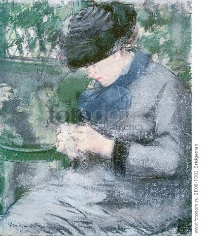 Femme Assise au Jardin, or Le Tricot (pastel on paper) , artist: Manet, Edouard (1832-83)