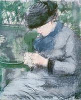 Femme Assise au Jardin, or Le Tricot (pastel on pa