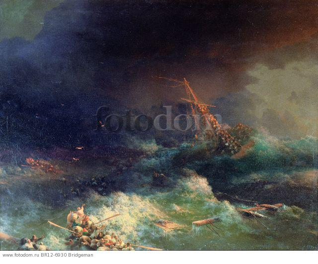 The Disaster of the Liner Ingermanland at Skagerrake near Norway on August 30th, 1842 (oil on canvas) , artist: Aivazovsky, Ivan Konstantinovich (1817-1900)