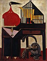 The Cat and the Canary, 1947 (oil on canvas) , art