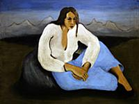 Woman in the Mountains, 1935 (oil on canvas) , art