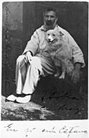 Self portrait with his dog Polaire, c.1930 (vintag