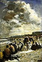 Beach, Dieppe on a cloudy day (oil on canvas) , ar