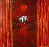 Fire, 1990 (oil on board) , artist: Edwards, John