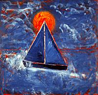 Setting Sail (Dusk), 1990 (oil on board) , artist:
