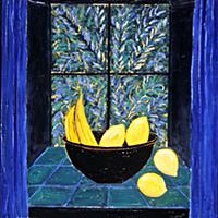 A Bowl of Fruit, 1991 (oil on wood) , artist: Edwa