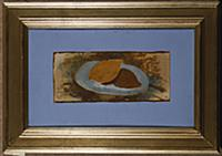 Lemon on a Plate (oil on paper laid on canvas) , a