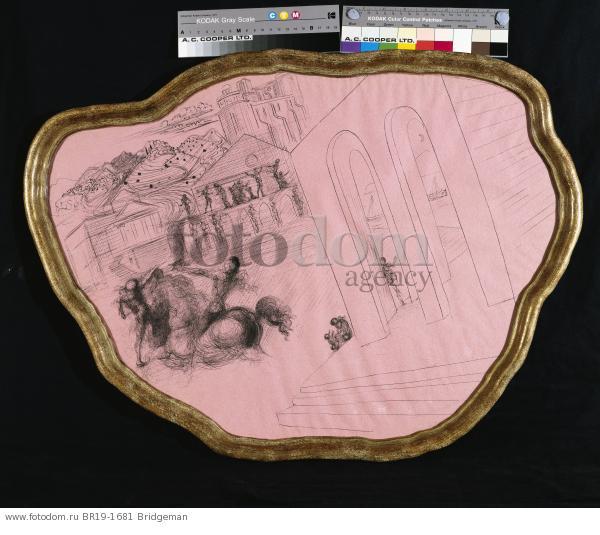 Messenger in a Palladian Landscape, c.1936 (pen & ink on pink paper) , artist: Dali, Salvador (1904-89)