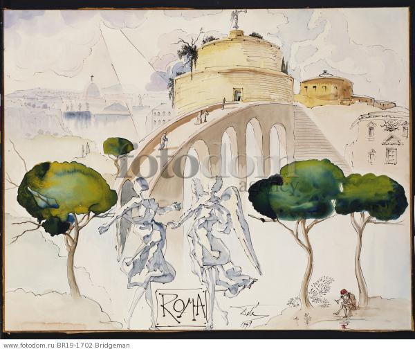 Roma, 1949 (w/c, gouache, pen & Indian ink on board) , artist: Dali, Salvador (1904-89)