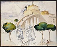 Roma, 1949 (w/c, gouache, pen & Indian ink on boar
