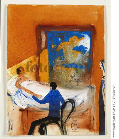 Doctor, 1971 (w/c, blue ink & oil on card) , artist: Dali, Salvador (1904-89)