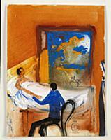 Doctor, 1971 (w/c, blue ink & oil on card) , artis
