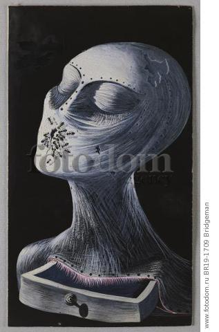 Face with Ants, c.1930-35 (gouache on black paper) , artist: Dali, Salvador (1904-89)
